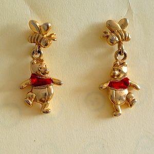 Winnie the Pooh gold stud dangle earrings